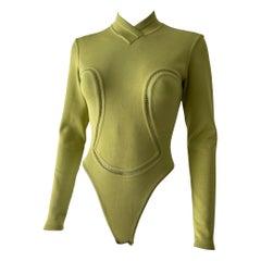90's Azzedine Alaïa Green Bodysuit with Long Sleeves Small Size FW 1991