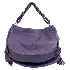 Tod's Purple Soft Leather Medium Goa Flap Shoulder Bag