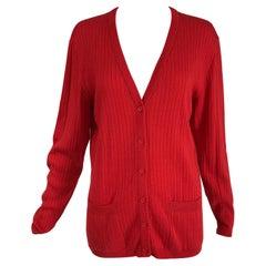 Courreges Red V Neck Ribbed Cardigan Sweater