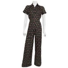 Vintage 1970s Ossie Clark For Radley Floral Polka-Dot Deco Print Cotton Jumpsuit