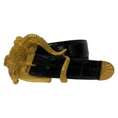 1980 Hartnell Black Embossed Belt W / Gold Alligator Buckle Size XL