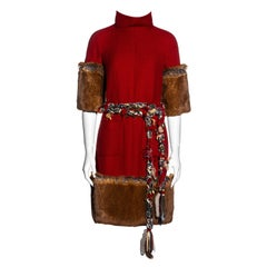 Chanel by Karl Lagerfeld red cashmere wool and faux fur dress, fw 2010