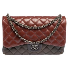 Chanel Tricolor Leather Jumbo Classic Double Flap Bag