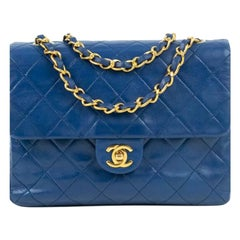 Chanel, Vintage Square in blue leather