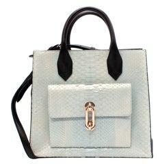 Balenciaga Black Leather & Light Blue Python All Afternoon Tote Bag