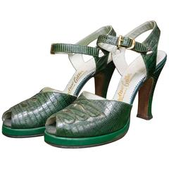 1940s Green Lizard Platform Shoes