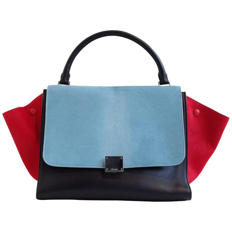 Celine Red and Sky Blue Pony Hair Trapeze Bag For Sale
