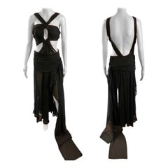 Tom Ford for Yves Saint Laurent S/S 2002 Runway Sheer Cutout Black Dress Gown