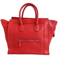 Celine Vermilion Red Leather Luggage Tote