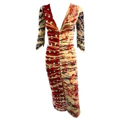 Jean Paul Gaultier Soleil Ruched Semi-Sheer Mesh Midi Dress