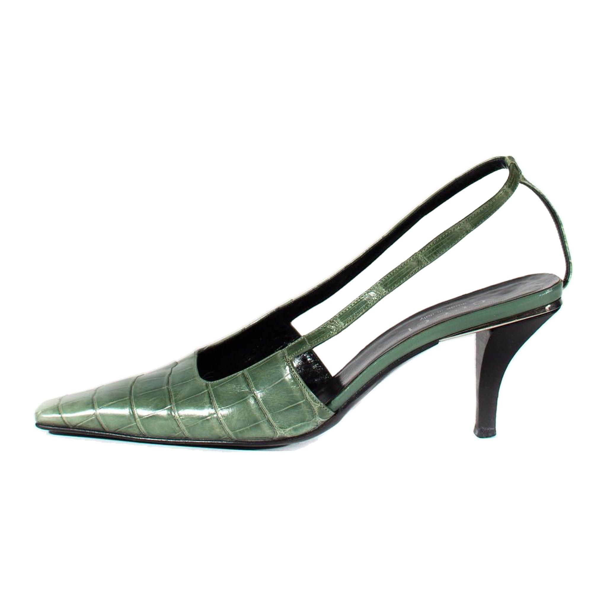 S/S 1998 Gucci by Tom Ford Light Green Alligator Kitten Heels Crystal G