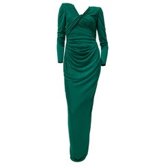 1992 Ungaro Emerald Green Draped Jersey Gown W/ Wrap Back & Bold Shoulders US 6