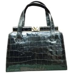 1950s Black Alligator Handbag