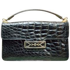 1940s Black Alligator Handbag