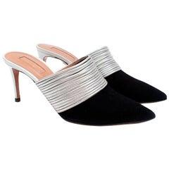 Aquazzura Rendez-Vous Black Suede Silver Leather Heeled Mules