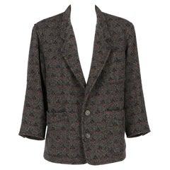 1980s Byblos geometric pattern grey wool jacket
