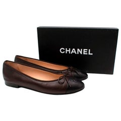 Chanel Bicolour Brown & Black Leather CC Embroidered Ballerinas