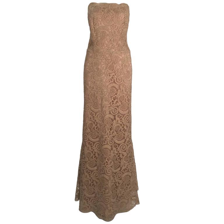 Vintage Nude Venetian Lace Floor Length Gown