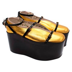 Gucci Hannelore Gold Leather Ballerinas W/ Black Ankle Strap Platforms
