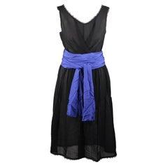 Fendi Black Silk Sleeveless Dress with Blue Belt Size 44 IT