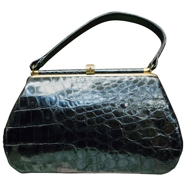 1950s Bellestones Black Alligator Handbag 1