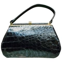 1950s Bellestones Black Alligator Handbag