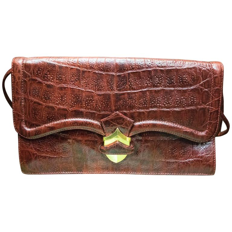 1960s Red Alligator Clutch