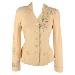 Vintage CHRISTIAN DIOR Size 6 Beige Silk Embroidered Jacket
