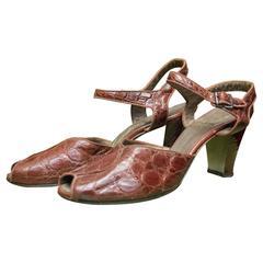 1940s Red Alligator High Heels