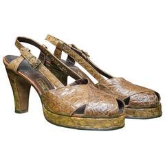 1940s Beleganti Alligator Platform High Heels