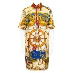 1990s Hermes Printed Silk Shirt Dress