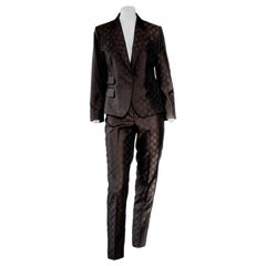 S/S 1998 Gucci by Tom Ford Woven GG Monogram Satin Brown Pantsuit