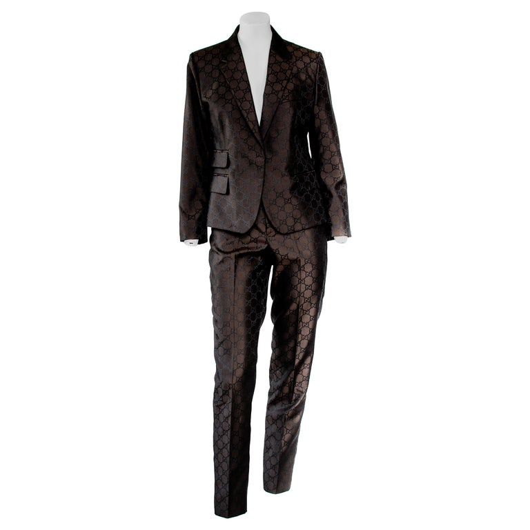 S/S 1998 Gucci by Tom Ford Woven GG Monogram Satin Brown Pantsuit For Sale