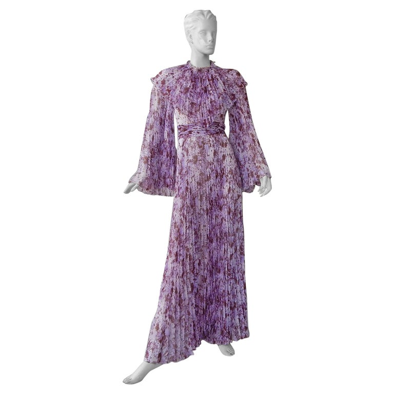 "NWT Giambattista Valli Splash Print ""Pretty in Purple"" Silk Dress For Sale"