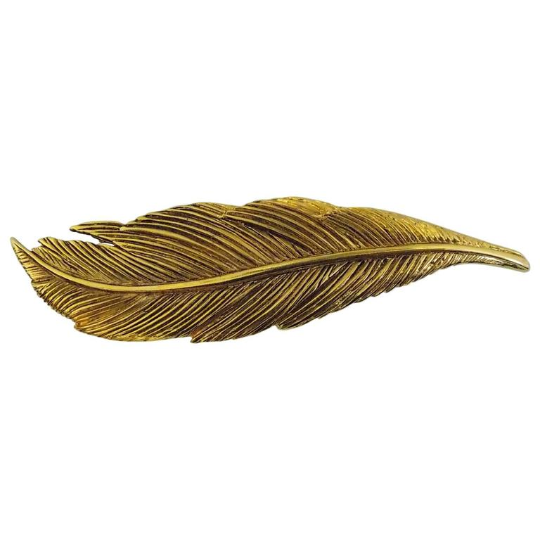 Rare Collectable HANAE MORI Paris  1980s  Large Feather Pin Brooch For Sale