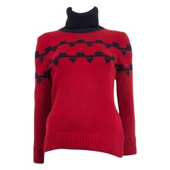 HERMES red & blue cashmere 2018 CHUNKY KNIT Turtleneck Sweater 34 XXS