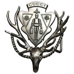 Gucci Silver Deer Skull Crest Belt Buckle
