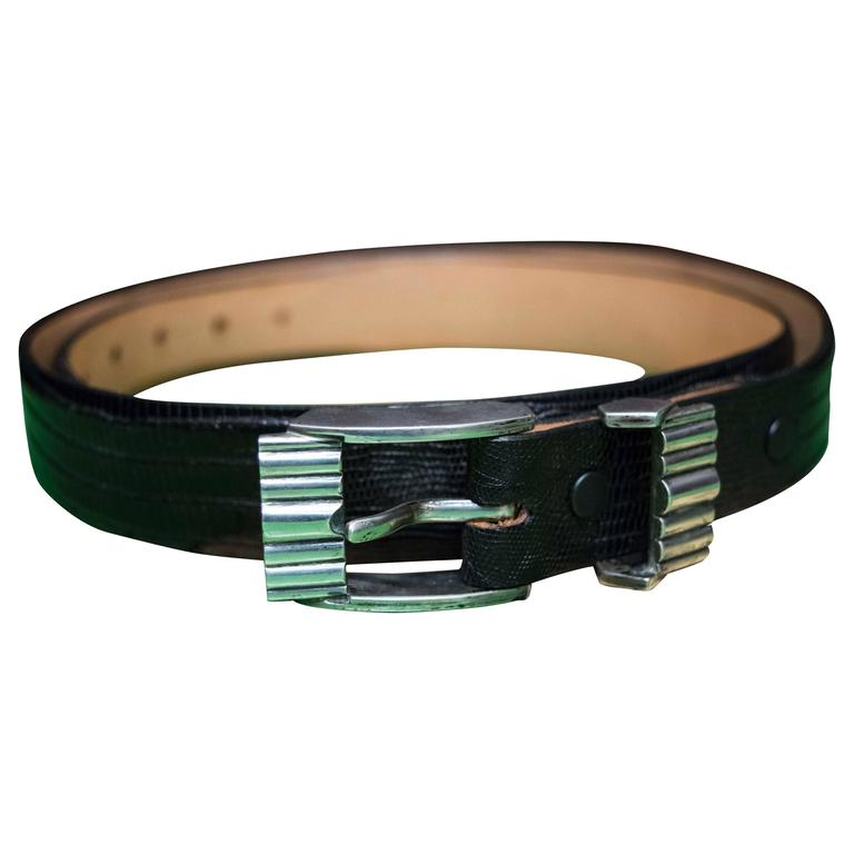 Black Lizard Belt with Sterling Silver Buckle For Sale
