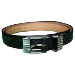 Black Lizard Belt with Sterling Silver Buckle