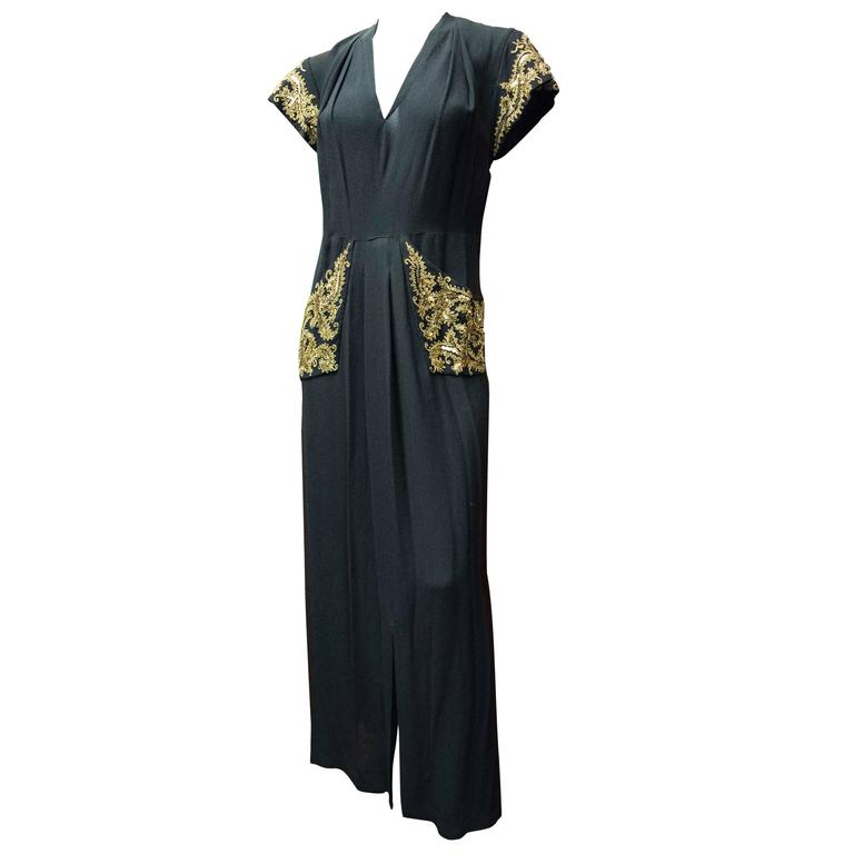 1940s Bergdorf Goodman Evening Dress