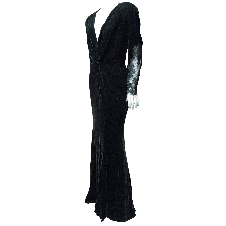 1980s Bergdorf Goodman Black Velvet Evening Dress
