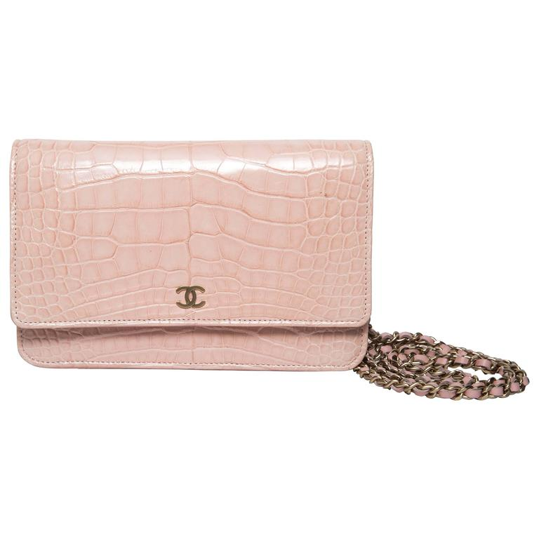Chanel Wallet on a Chain in Blush Pink Alligator For Sale