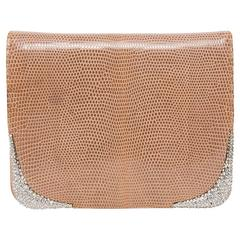 Valentino Tan Lizard Clutch with Crystal Corners and Crystal Studded Strap