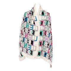 New Chanel Multi Color Logo CC Silk White Shawl