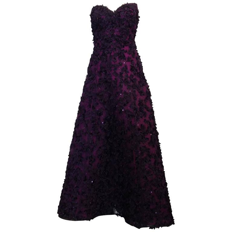 Oscar de la Renta Royal Purple Floral Gown 1