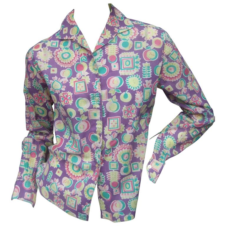Emilio Pucci Cotton Pastel Print Blouse Made in Italy c 1970 For Sale