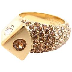 Louis Vuitton Brown Crystal and Gold Tone Cocktail Ring in Box