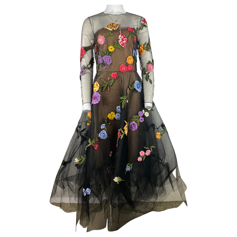 Oscar de la Renta Black Floral Gown Dress, Size 8