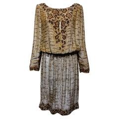 1990s BILL BLASS Brown Metallic Sequin Cocktail Dress