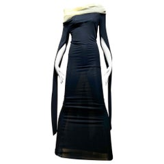 1990s Jean Paul Gaultier Black Knit Dress with Cut Out Sleeves